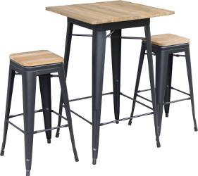 TOLIX Stehtisch und Barhocker mit Holz-Tischplatte und Sitzbrett aus Holz
