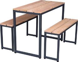 Sitzgarnitur FELIX aus Stahlrohr und Douglasienholz. Tisch 1 x 0,5 Meter mit 2 Bänken zum drunterschieben!